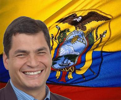 Rafael Correa y bandera